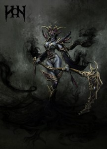 Blue skinned assasin female handling a scythe. Her hair and clothes are fading into smoke. She is wearing an elaborate bikini-mail