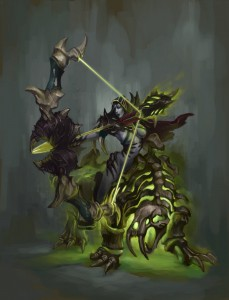 A grey-skinned female notching an arrow and riding a skeletal beast powered by green energy. She is wearing practically nothing except a hood and some skeletal bone armor covering her breasts and back