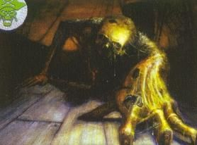 "The crew ""Stench"" from the 7th Sea CCG. An undead human crawling towards the camera. It is green and rotting."