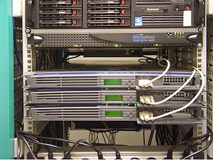 front view of the cluster of Wikimedia servers...