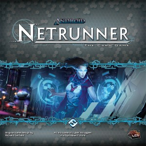 Android:Netrunner logo. A woman under a blue light, wielding virtual interfaces with both hands
